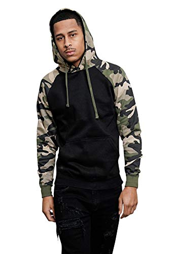 - G-Style USA Premium Heavyweight Contrast Raglan Sleeve Pullover Hoodie MH13112 - Black/Green Camo - X-Large
