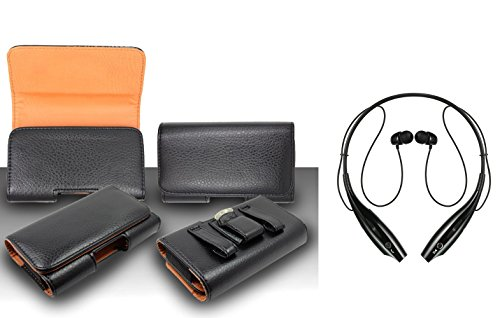 For HTC One A9 Premium Classic Black Pebble Texture Leather Belt Case Clip Holster Pouch (Fit for Phone With Slim Case Together) + Sports Neckband Bluetooth Stereo Headset