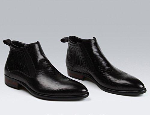 Heren Lederen Schoenen High-top Schoenen Heren Leren Schoenen Martin Laarzen Wees Korte Laarzen Herenschoenen (kleur: Rood-bruin, Maat: Eu40 / Uk6.5) Zwart