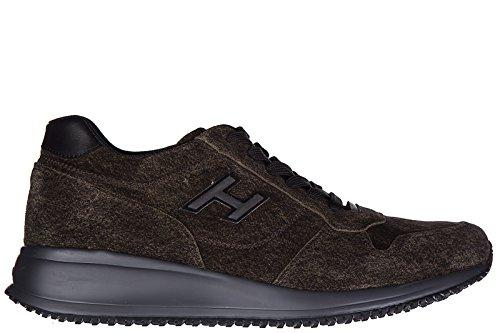 Hogan chaussures baskets sneakers homme en daim interactive n20 h flock marron