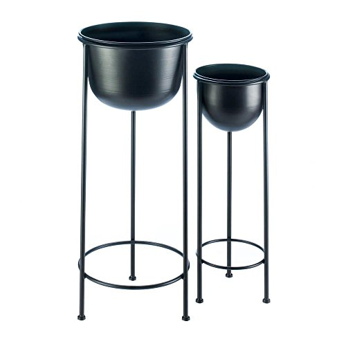 Summerfield Terrace Black Buckets Metal Plant Stand Set (Metal Planter Stand)