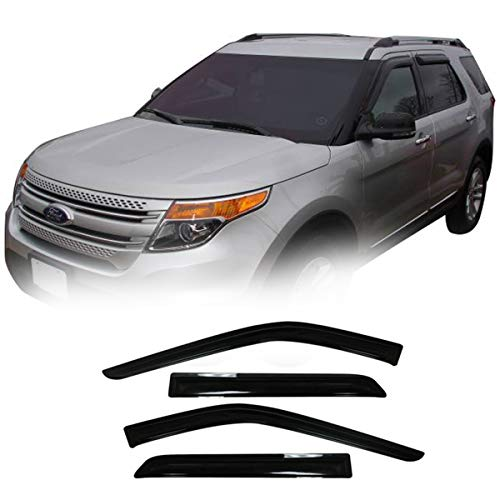4pcs For 2011-2019 Ford Explorer Smoke Sun Wind Rain Guard Vent Shade Reflector Window Visors by JM