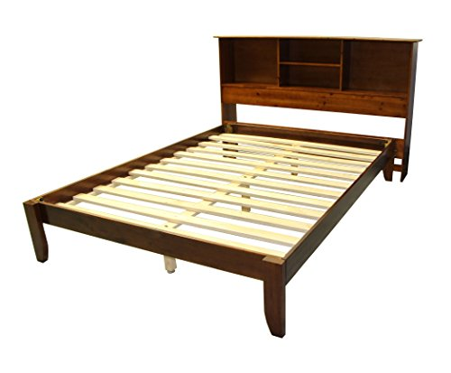 Bookcase Queen Headboard Bed (Stockholm Solid Wood Bamboo Platform Bed Frame with Matching Bookcase Headboard, Queen, Walnut)