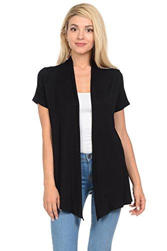 Pastel by Vivienne Women's Short Sleeve Open Front Vest XX-Large Black