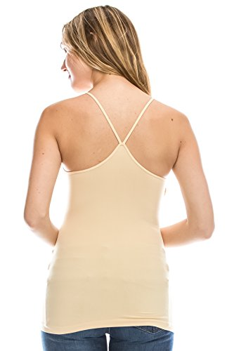 Kurve American Made Y-Back Spaghetti Strap Basic Cami, UV Protective Fabric UPF 50+ (Made with Love in The USA) Nude