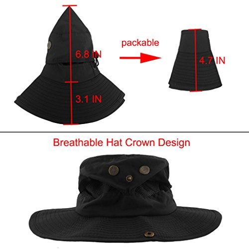 91c4f8c2ee4a4 LETHMIK Outdoor Waterproof Boonie Hat Wide Brim Breathable Hunting Fishing  Safari Sun Hat Black