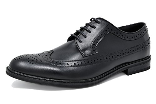 Bruno MARC PRINCE-10 Men's Oxford Modern Classic Brogue Wing-Tip Lace Up Leather Lined Perforated Dress Oxfords Shoes Black Size 11