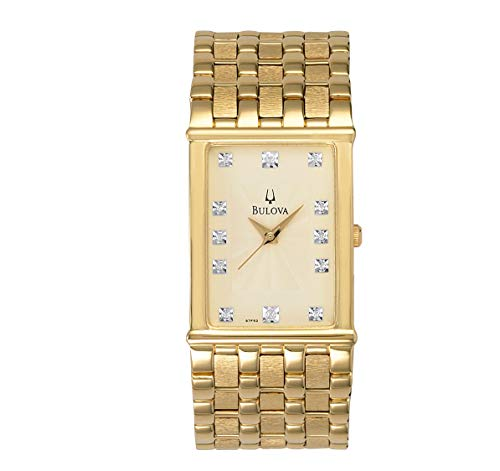 (Bulova Men's 97F52 Diamond Accented Gold-Tone Steel Watch )
