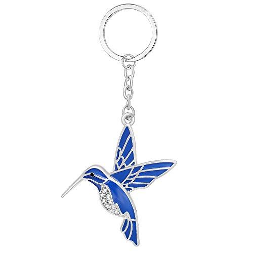 - NOUMANDA 3 Colors Lovely Animal Hummingbird Key Chain Ring with Flower Keychain for Bag Women Girl (Silver)