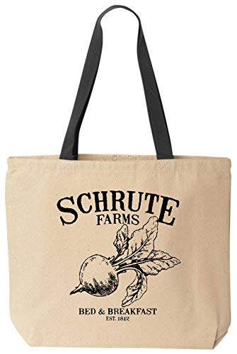 - BeeGeeTees Schrute Farms Funny Reusable Grocery Shopping School Office Space Natural Cotton Canvas Tote Bag