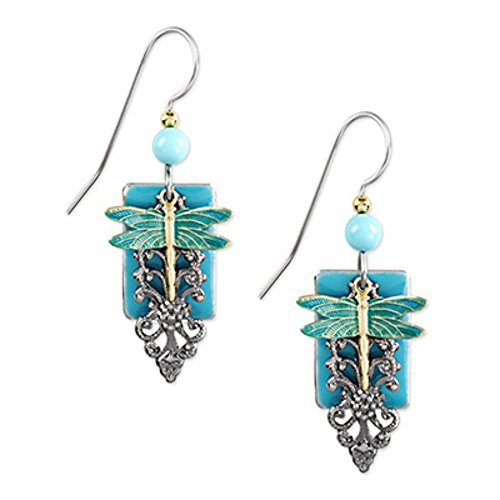 Silver Forest Earrings - dragonfly on turquoise rectangle