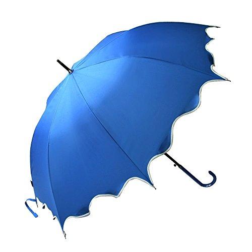 Blue Auto Open Windproof Umbrella Flouncing Rain Umbrella Princess Dome Parasol Long by Umbrella Compact