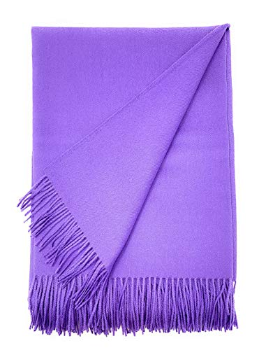 100% Baby Alpaca Wool Solid Throw Blanket, All Natural, Hypoallergenic & Allergen Free for Home Decor or Travel, 51 x 71 inches (Lilac)