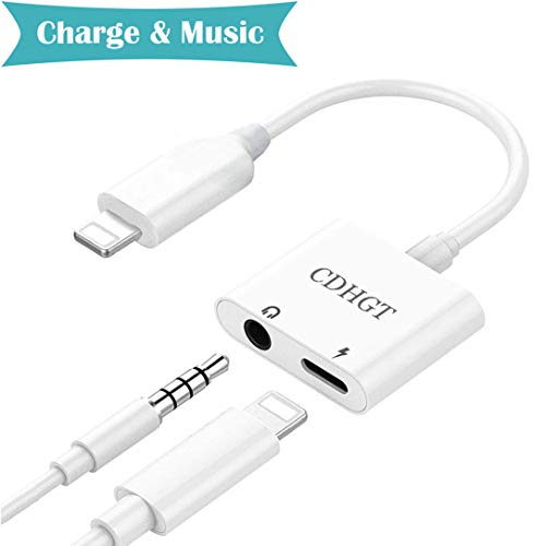 Headphone Adapter for iPhone Adapter 3.5mm Jack Dongle Splitter Earphone Connector Convertor 2 in 1 Accessories Cable Charge& Audio Compatible for iPhone X 8/8Plus 7/7Plus Support iOS11 or Later-White by cdhgtjtyl