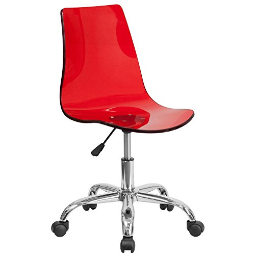 Flash Furniture Contemporary Transparent Red Acrylic Swivel Task Chair with Chrome Base by Flash Furniture