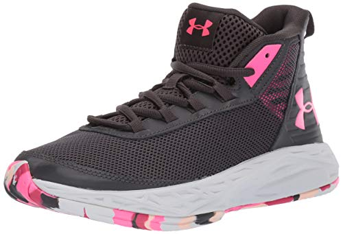 Under Armour Girls' Grade School 2018 Basketball Shoe, Jet Gray (100)/Mojo Pink 6.5 M US Big Kid
