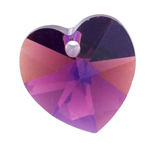rystal Heart Pendant Beads #6202 10mm Amethyst AB (6) (6202 Swarovski Heart Pendant Beads)