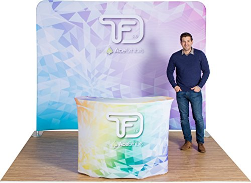 Ace Exhibits - 10' x 8' FLAT TRU-FIT 3.0 - Dye-Sub Printed Graphic Stretch Tension Fabric Trade Show Display - Trade Show Booth - Tradeshow Display Banner Backdrop - Pop Up Display Exhibit Booth