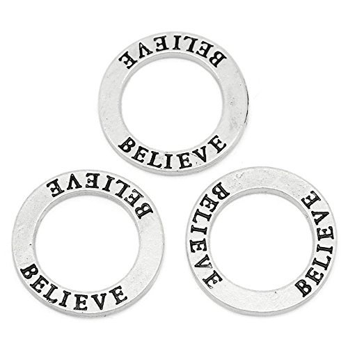 Believe Circle Washer Charm Connector Affirmation Ring, 30 Count