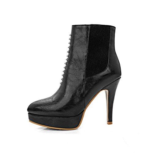 A&N Ladies Winkle Pinker Platform Zipper Horsehair Boots Black XFf5f