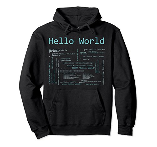 (Unisex Hello World - Computer Programming Languages Hoodie XL: Black)