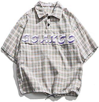 DXHNIIS Pullover Camisa a Cuadros Hombres Botones Delanteros Oversize Camisas para Hombres Carta de Verano Camisas Impresas para Hombres XL Camisa Gris: Amazon.es: Deportes y aire libre