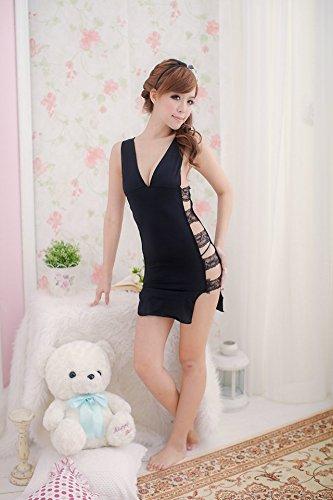 Shangrui Mujer La Ropa Interior de Encaje Negro Pijamas Con Encanto Correas Anchas Lencería Mordaz W116 Negro