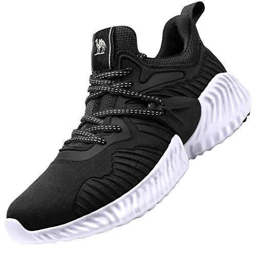 CAMEL CROWN Men's Trail Running Shoes Lightweight Breathable Fashion Mesh Walking Workout Tennis Athletic Casual Sneakers Black 12