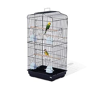 Pawhut Jaula para Pájaros Pajarera para Pájaro Loro Canario Periquito Jaula Metálica para Mascota Aves Marco Acero 47…