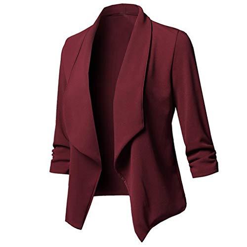 DONTAL Womens Coat Solid Open Front Cardigan Long Sleeve Blazer Casual Jacket Outwear Wine