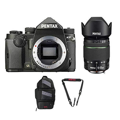 Pentax KP DSLR Camera (Black) with a PENTAX DA 18-55mm f/3.5-5.6 AL WR Lens + Pentax 85231 Sling Bag 2 and Padded DSLR Strap