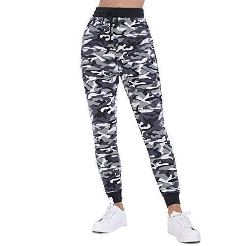 JTANIB Jogger Pants for Women, Active Lounge Drawstring Waist Yoga Leggings Sweatpants with Pockets,Camo 3,S