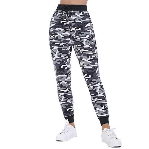 JTANIB Jogger Pants for Women, Active Lounge Drawstring Waist Yoga Leggings Sweatpants with Pockets,Camo 3,M
