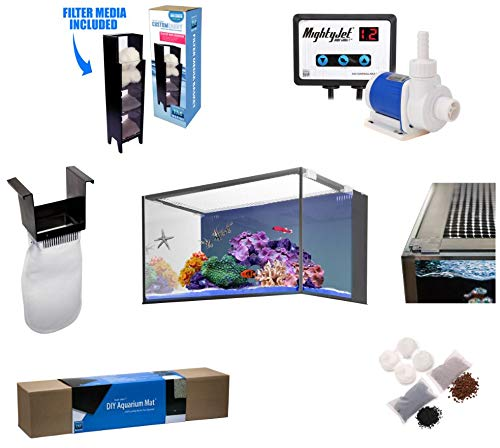 (Innovative Marine Nuvo Fusion PRO 20 Gallon AIO (all-in-one) Aquarium with Mighty Jet DC Return Pump, Custom Caddy (Media Included), Filter Sock, Preinstalled Leveling Mat, Assembled Mesh Screen Cover)