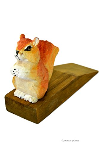 American Chateau Hand Carved Painted Vintage Wood Squirrel Door Wedge Stop Stopper Cottage Decor