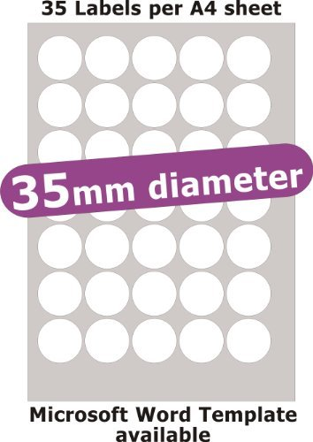 Minilabel 35mm Diameter Round , 175 Labels , Removable Low Tack Adhesive , Matt Paper , 5 A4 Sheets , Laser Copier Inkjet (Promotional Laser)