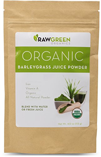Raw Green Organics – Organic Barleygrass Juice Powder – All Natural Powder Rich in Iron and Vitamin A – 4 oz. (113 Grams)