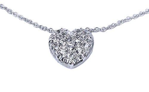 Pendentif petit coeur en or blanc émaillé 9 Ct et diamant pavè de saphirs 0,20 Ct