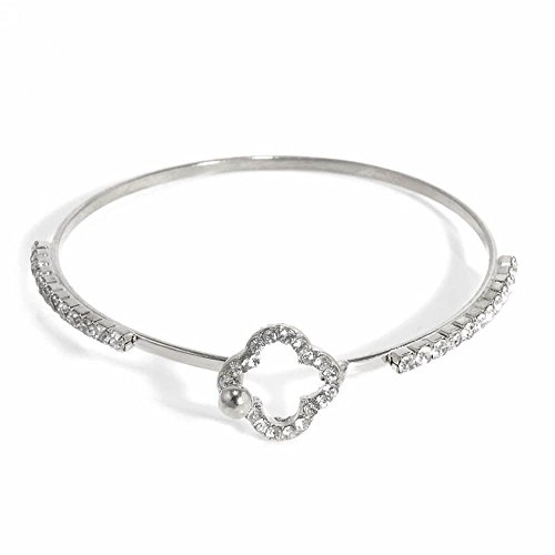 silver four leave clover Unique Crystal Rhinestone Bangles Women Cuff Bracelets Charm Hand Jewelry