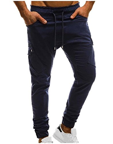Abetteric Mens Pockets Strappy Mid Waist Classic Cozy Solid