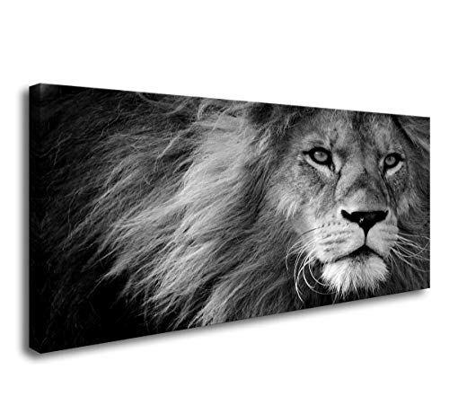 (Baisuwallart Canvas Prints Wall Art Grey Lion Stretched Canvas Wooden Framed for Living Room Bedroom and Office)