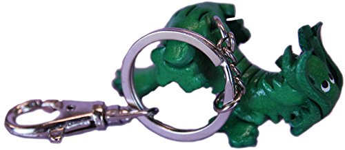 Keychain Leather Green Magic Dragon Charm - Keyring Fob Holder (Leather Green Dragon)