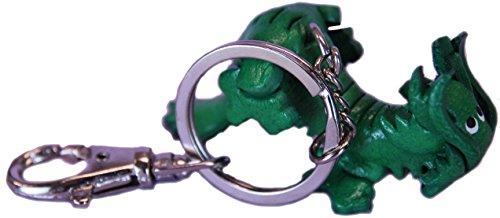 Keychain Leather Green Magic Dragon Charm - Keyring Fob ()