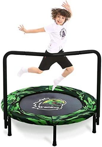 Wamkos 2020 Upgraded Dinosaur Mini Trampoline for Kids with Handle,Foldable Kids Trampoline for Play Exercise Indoor or Outdoor,Camo Safty Padded Cover Toddler Rebounder Trampoline for Jump Sports