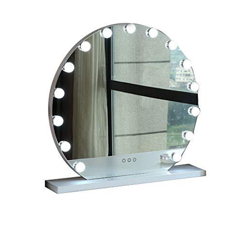 XYZX Round Makeup Mirror,with 15 Bulb Vanity Mirror Dimmable Desktop Mirror 21.65inX23.62in Suitable for Bedroom (Color : - Inch 62 Vanity