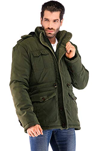 (Yozai Mens Winter Jacket Coat with Multi Pockets and Detachable Fur Hood Army Green)