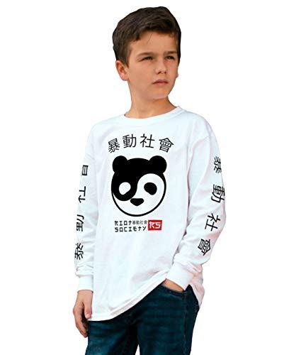 (Riot Society Panda Yin Yang Face Boys Long Sleeve Tee - White, Small)