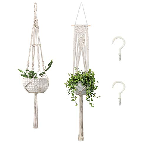 2-Pack Macrame Plant Hangers with 2 Hooks, Handmade Cotton Rope Hanging Planters Set Flower Pots Holder Stand, for Indoor Outdoor Boho Home Decor
