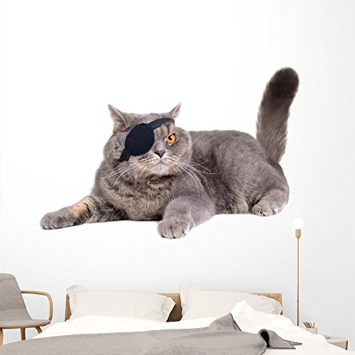 Wallmonkeys Cat Dressed as Pirate Wall Decal Peel