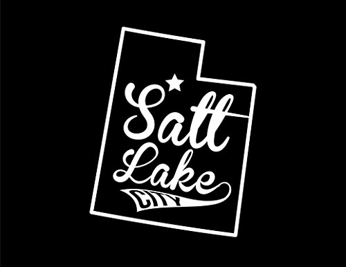 ND436W Salt Lake City Utah Decal Sticker | 5.5-Inches By 4.3-Inches | Premium Quality White Vinyl ()